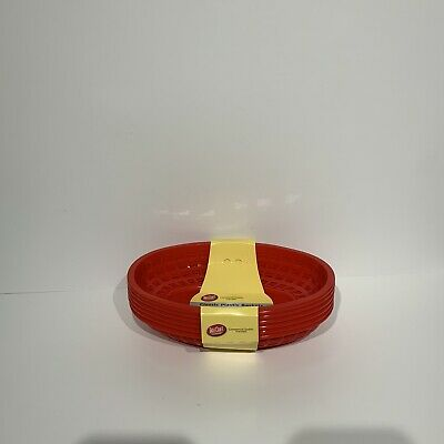 TableCraft Classic Plastic Baskets - Set of 6 Oval Red - New with Tag