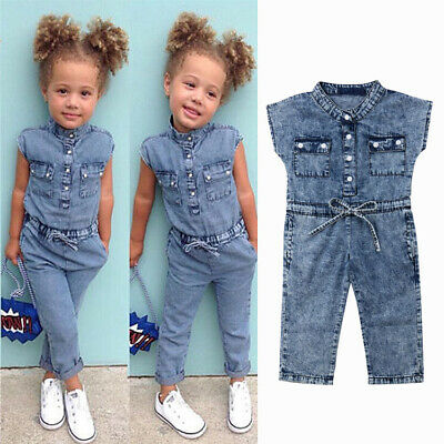 UK Infant Baby Girl Boy Denim Romper Bodysuit Jumpsuit Dungarees Clothes Outfits