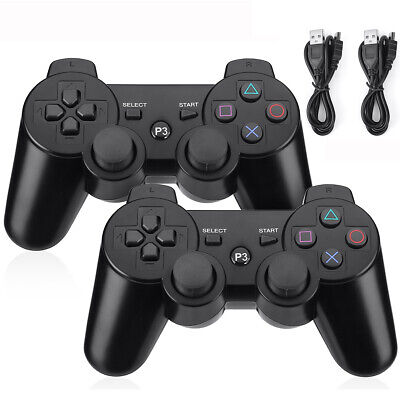 2PACK Wireless Bluetooth Game Controller Pad For Sony PS3 Playstation 3 Black