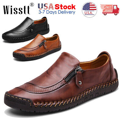 Mens Leather Zipper Shoes Breathable Antiskid Loafers Driving Moccasins Casual K