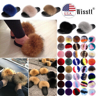 Women's Furry Slides Fuzzy Fluffy Slippers Sliders Sandals Flat Shoes Size 4-13