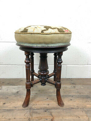 Antique Victorian Walnut Piano Stool with Adjustable Height - Delivery Available