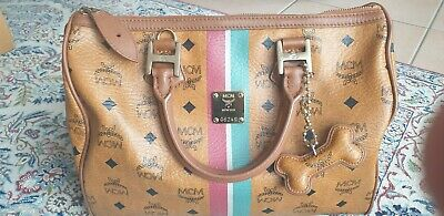 MCM TASCHE COGNAC Boston bag Visetos Tasche Medium size