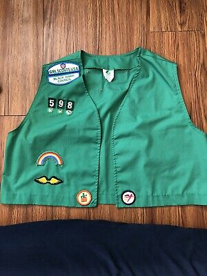 Girl Scouts Green Vest With Patches Girl Large L
