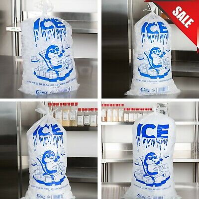 1000 Case 10 LB Clear Plastic Ice Bags Machine Commercial Barcode 10lb for sale online