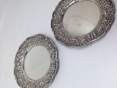 """S.Kirk & Son REPOUSSE Sterling Silver - 2 BUTTER PATS - No Monograms - 3-1/4"""" Di"""