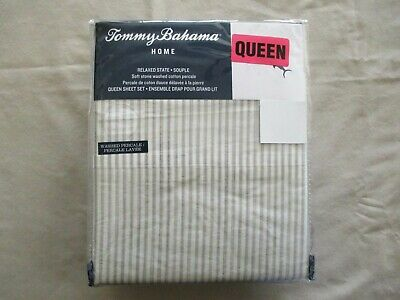 NEW 4pc Tommy Bahama Queen Sheet Set PALOMA STRIPE Green /& White Stripes