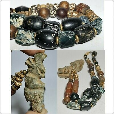 Ancient Roman glass & carnelian  jade amulet stone   beads necklace size 22 inch
