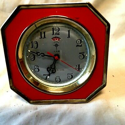 Vintage Art Deco Red And Brass Travelling / Mantel Clock