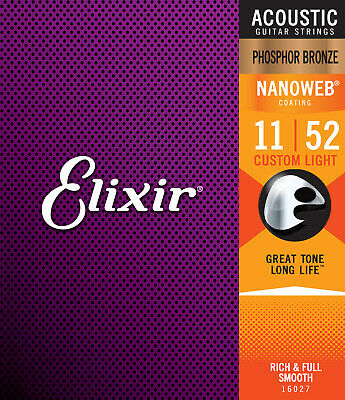 Elixir 16027 Phosphor Bronze Acoustic Guitar Strings gauges 11-52