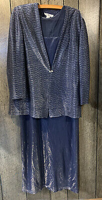 Patra Navy Silver Formal 2 piece Jacket Dress Women's 16 Mother Of The Bride USA