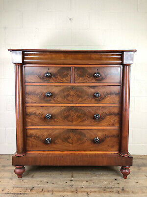Antique Large Victorian Mahogany Scottish Chest of Drawers - Delivery Available