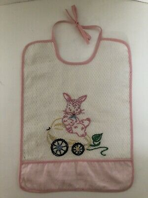 Vintage Handmade Hand Embroidered Baby Bib with Bunny, CHARMING