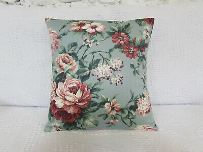 Pink Pretty Cushion Cover Green Roses Tulips Duckegg Blue Floral Blossom.
