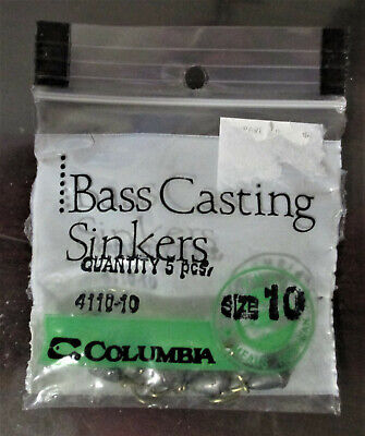 NOS 3-3 count pckgs BASS CASTING size #6 sinkers COLUMBIA GA U.S.A