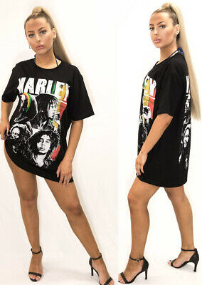 Womens Ladies Graphic Face  Oversized Baggy T-Shirt Dress Blouse Top Bob Marley
