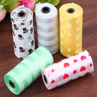 1-10Rolls Large Strong Pet Dogs Cat Poo Bags Eco Friendly Degradable Paw Printed