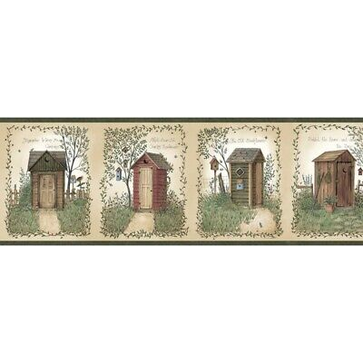 Country Meadows Border BBC44552B wallpaper outhouse green Easy-Walls prepasted