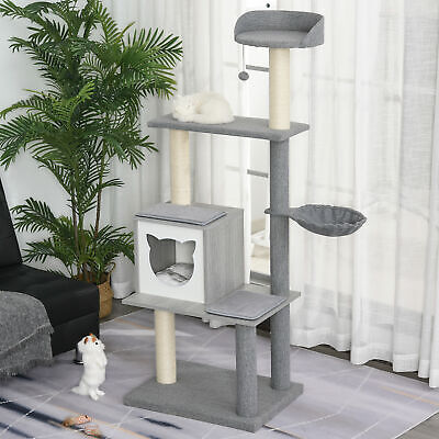 Multi-level Cat Tree with Scratching Posts House and Baskets Grey White