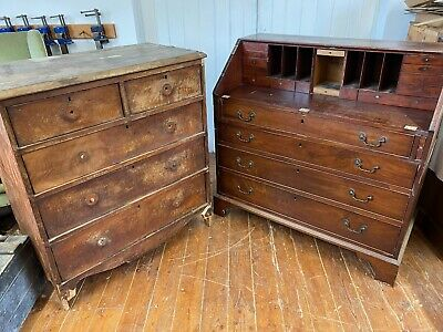 An Antique Georgian Mahogany Bureau and Victorian Chest of Drawers.