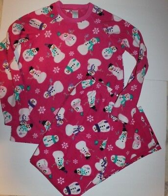 The Children's Place Girls Pajama Set Aqua or Pink Fleece Snowman 2 3 or 5 6