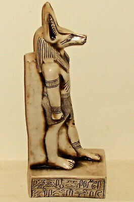 Ancient Egyptian Anubis God of Death & Watcher of Mummies white basalt carving