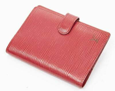 VINTAGE SMALL LOUIS VUITTON RED EPI LEATHER POCKET AGENDA COVER BINDER w/ BOX