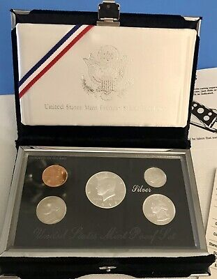 1997 US Mint Silver  Proof set 90/%  Silver Kennedy Black box 5 coins OGP