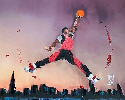 Michael Air Jordan Dunk Jumpman Abstract Basketball Original Art Painting 11x14