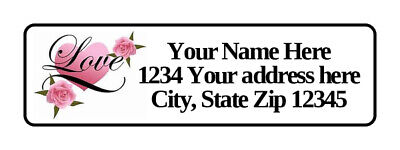 400 Love Hearts Personalized Return Address Labels 1/2 inch by 1 3/4 inch