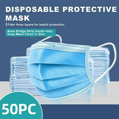 [50 Pcs] 3-Ply Disposable Face Mask Non-Medical Surgical Face Mouth Cover LAship