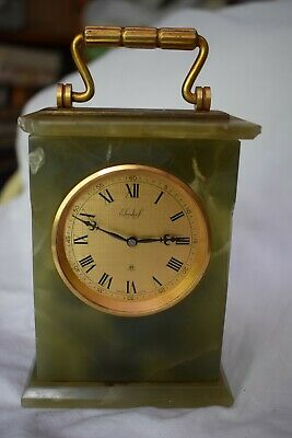 Imhof marble carriage clock - 8 day mechanical manual wind some damage see desc
