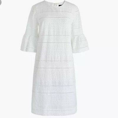 NWT JCREW $118 Flutter-sleeve shift dress in eyelet Size0 G1269 In White
