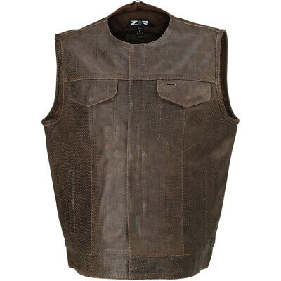 Z1R Ganja Perforated Leather Vest (Brown) L