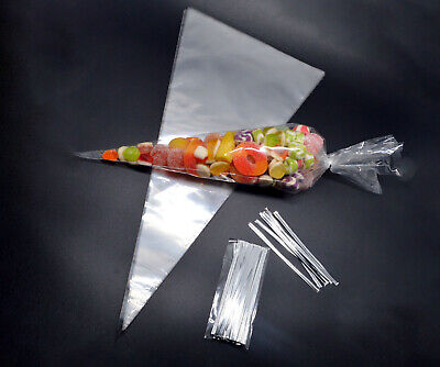 100 Clear Cellophane Cone Bags Twist Ties Party Sweet Cello Candy Large size