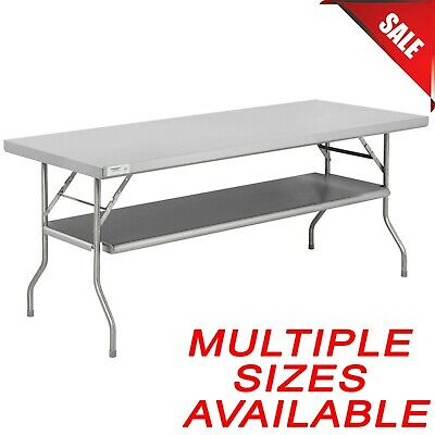 PICK YOUR SIZE Stainless Steel Folding Work Table Metal Stand Removable Shelf