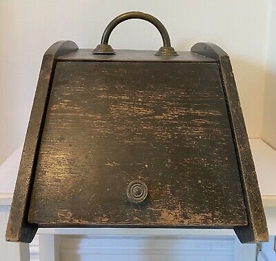 Antique Wooden Coal Scuttle Box With Brass Decoration, Handle, Hinges