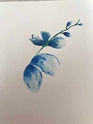 HANDPAINTED Blue Orchid Blank Greeting Card. Watercolour. No Envelope.