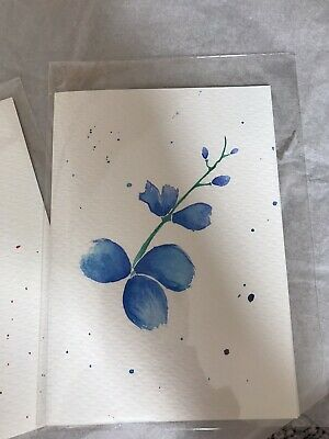 HANDPAINTED Cherry Blossom / Orchid Blank Greeting Card. No Envelope