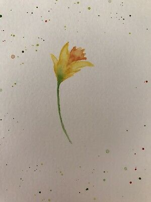 HANDPAINTED Daffodil Yellow Blank Post Card. Watercolour