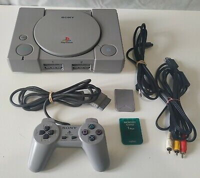 PlayStation 1 (PS1-PSX) original universal + pad, cables & 2 memory cards