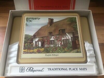 """8 PIMPERNEL DELUXE FINISH Place Mats 6 reg+2 large 12"""" x 9 English Cottages New"""