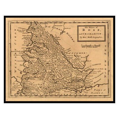 THE SHIRE of BUTE 1725 folded map Old Map reprint Linen Backed