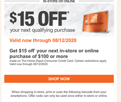 ONLINE ONLY Fast-Delivery One 1x Home Depot 15/% OFF-1Coupon Up to $200 SAVE