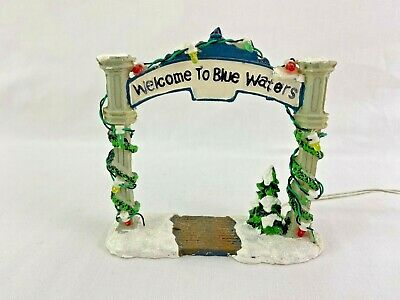 Christmas Village Welcome To Blue Waters Light Arch Snow Tree