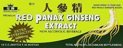 Royal King Red Panax Ginseng Extract 1 box 30 vials EXTRA STRENGTH 6000 MG