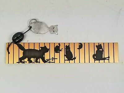 VTG Handcrafted Copper Bookmark w/Black Cats & 3 Kittens/Pewter Charm/New-Unused