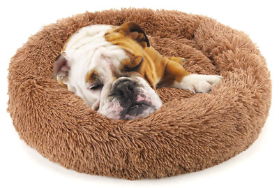 NOYAL Donut Dog/Cat Bed Soft Plush Pet Cushion AntiSlip Self-Warming Sz XS Brown