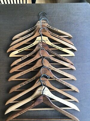Lot Of 11 Wooden Advertising Clothing Hangers Hotel
