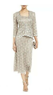 Women's Formal Dresses Size 14 2pc Jacket & Dress Taupe / Champagne R&M Richards